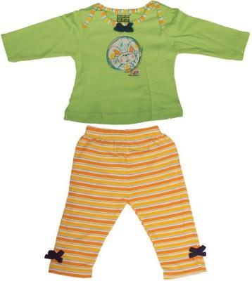 Mee Mee Baby Girl's Striped Green Top & Pyjama Set
