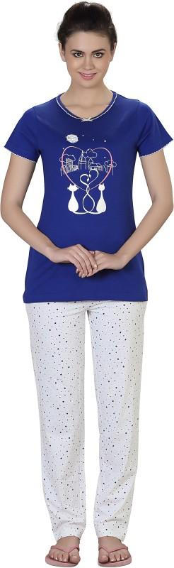 Lazy Dazy Women's Solid Blue, White Top & Pyjama Set