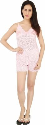 Sweet Heart Women's Self Design Pink Top & Shorts Set