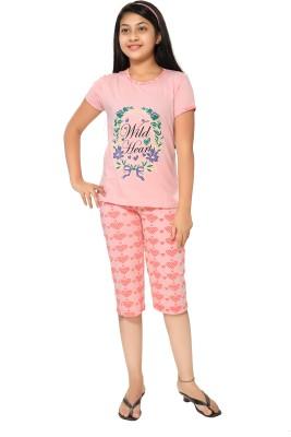 Elite Girl's Printed Multicolor Top & Capri Set