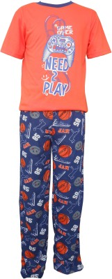 Sweet Dreams Men's Solid Orange Top & Pyjama Set