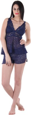 Private Lives Women's Solid Dark Blue Top & Shorts Set