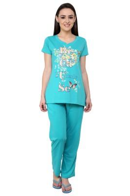 TAB91 Because Print Women's Printed Light Blue Top & Pyjama Set
