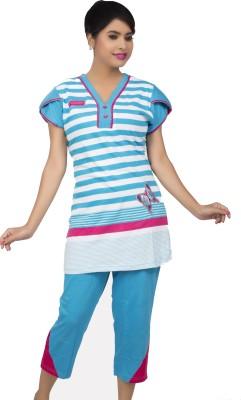 Ishin Women's Striped Multicolor Top & Capri Set
