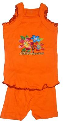 Gen Baby Girl's Printed Orange Top & Shorts Set