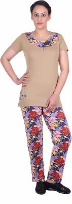 Di Tutti Women's Printed Brown Top & Pyjama Set