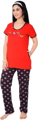 Farry Women's Self Design Black Top & Pyjama Set