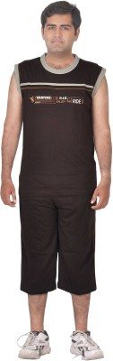 Premium Plus Men's Solid Brown T-shirt & Three-forth Set