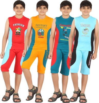 Zippy Boy's Printed Multicolor T-shirt & Three-forth Set