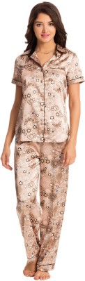 PrettySecrets Women's Floral Print Brown Top & Pyjama Set