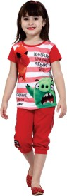 Angry Birds Kids Nightwear Girls Graphic Print Cotton(Red)