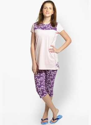LLO Fashions Women's Printed Pink Top & Pyjama Set