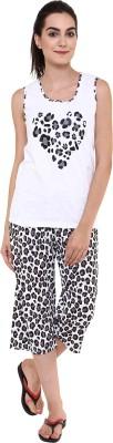 Softwear Women's Self Design White Top & Capri Set
