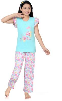 Kombee Girl's Printed Blue, Pink Top & Pyjama Set