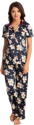 PrettySecrets Women's Floral Print Dark Blue Top & Pyjama Set