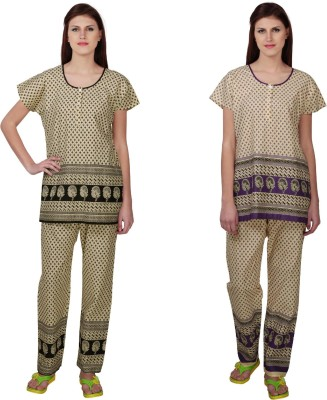 Simrit Women's Printed Black, Purple Top & Pyjama Set