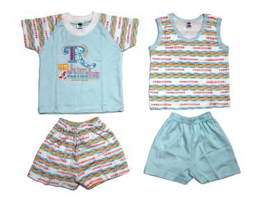 Belle Girl Baby Girl's Printed Blue Top & Shorts Set