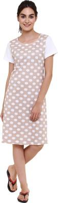 Softwear Women's Self Design Beige Sleepshirt