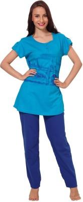 Demoda Women's Solid Dark Blue Top & Pyjama Set