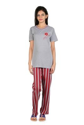 Elite Women's Printed Grey Top & Pyjama Set