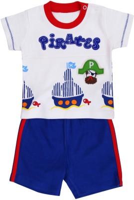 Munna Munni Kids Apparel Baby Boy's Printed, Solid Red, White, Blue Top & Shorts Set