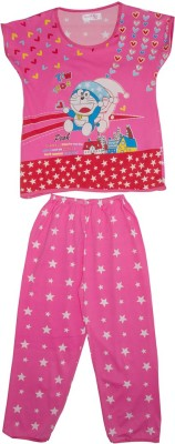 Camey Girl's Printed Pink Top & Pyjama Set