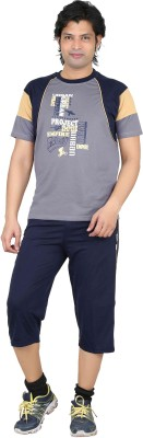 Premium Plus Men's Printed Light Blue, Dark Blue T-shirt & Three-forth Set