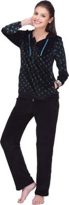 She N She Women's Printed Green Top & Pyjama Set