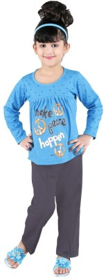 Bella & Brat Girl's Graphic Print Blue, Grey Top & Pyjama Set