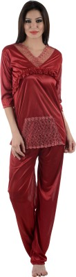 Tej Star Women's Solid Red Top & Pyjama Set
