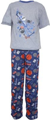 Sweet Dreams Men's Solid Grey Top & Pyjama Set