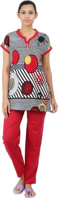 Informal Wear Women's Floral Print Red Top & Pyjama Set