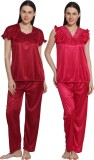 eSOUL Women's Self Design Maroon, Pink T...