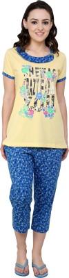 TAB91 Crazy For U Women's Printed Yellow Top & Capri Set