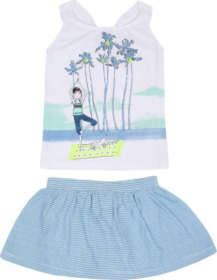 Mom and Kid Girl's Printed, Striped White, Blue Top & Skirt Set