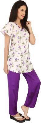 Sweet Heart Women's Printed Purple Top & Pyjama Set