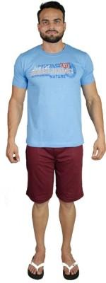 Valentine Men's Solid Blue, Maroon Top & Shorts Set