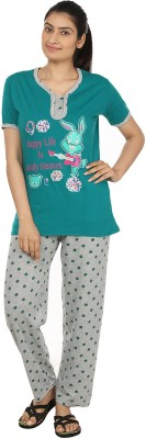 Star Gallery Women's Printed Green, Grey Top & Pyjama Set