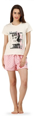 The Boxer Store Women's Printed White Top & Shorts Set