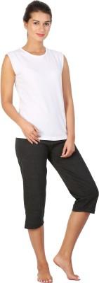 Click Hit Softle Top Payjama set Women's Solid White, Black T-shirt & Three-forth Set