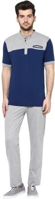 Cayman Men's Solid Dark Blue Top & Pyjama Set