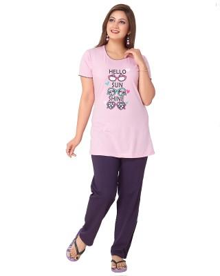 Avani Women's Solid Pink, Purple Top & Pyjama Set