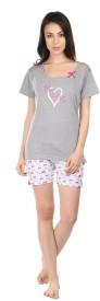 Semantic Women's Printed Grey Top & Shorts Set