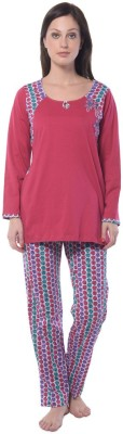 Squirrel Women's Printed Pink Top & Pyjama Set