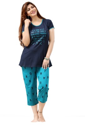 Sweet Night Women's Printed Blue Top & Capri Set