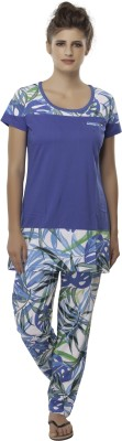 Second SKIN Women's Floral Print Multicolor Top & Pyjama Set