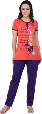 Glasgow Women's Printed Orange Top & Pyjama Set