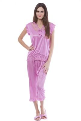 Se Deplace Women's Solid Pink Top & Capri Set