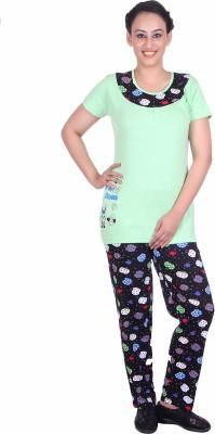 Di Tutti Women's Printed Green Top & Pyjama Set