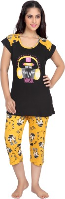 Ottal-Ne Women's Printed Black Top & Capri Set